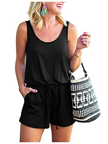 Aooword Women's Rompers Tank Top Sleeveless Loose One Piece Jumpsuit 4 S