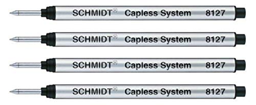 Schmidt: Große Capless-Rollerballmine S8127 Farbe: schwarz, 4er-Set.