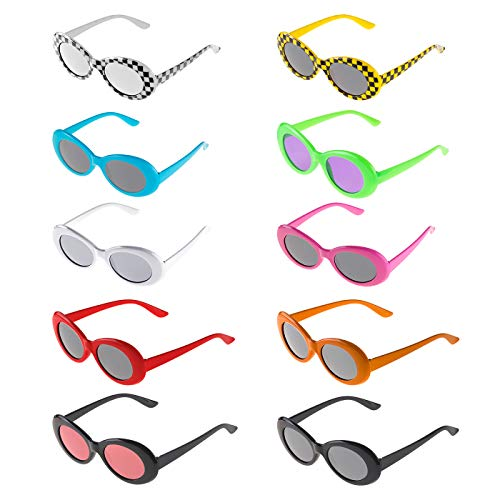 Solovey 10 Pack Clout Oval Goggles Retro Mod Thick Frame Round Lens Sunglasses Plaid Clout Glasses for Women,Girls,Men,Teenagers,Boys, Medium