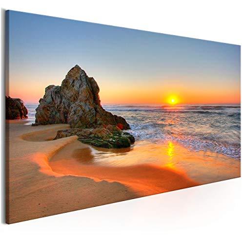 decomonkey Bilder Sonnenuntergang 120x40 cm 1 Teilig Leinwandbilder Bild auf Leinwand Vlies Wandbild Kunstdruck Wanddeko Wand Wohnzimmer Wanddekoration Deko Meer Strand