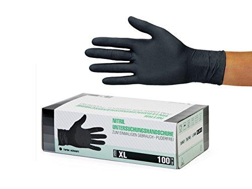 Nitrilhandschuhe 100 Stück Box (XL, Schwarz) Einweghandschuhe, Einmalhandschuhe, Untersuchungshandschuhe, Nitril Handschuhe, puderfrei, ohne Latex, unsteril, latexfrei, disposible gloves, black, X Lar