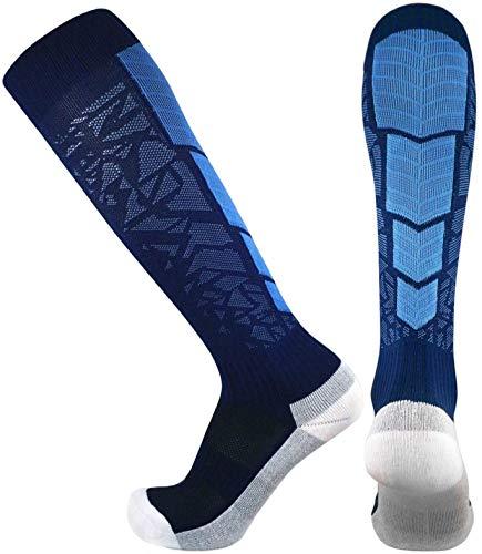 Elite Performance Athletic Socks - Over The Calf (Medium, Navy Blue / Light Blue)