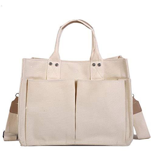 REGEN Ladies Canvas Simple and Versatile Multi-Pocket Handbag Practical Shoulder Bag Large Capacity Messenger Female Bag/White