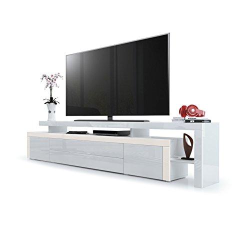 Vladon TV Board Lowboard Leon V3, Korpus und Überbau in Weiß Hochglanz/Front in Weiß Hochglanz mit Rahmen in Creme Hochglanz