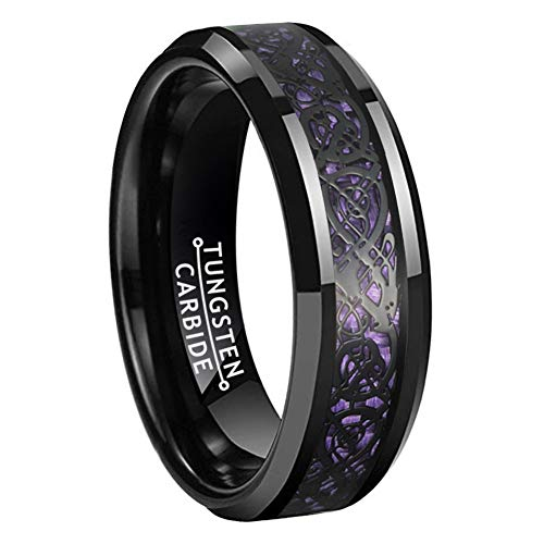 BestTungsten 6mm Black Tungsten Rings for Women Men Wedding Bands Celtic Dragon Purple Carbon Fiber Inlay Beveled Edges Polished Comfort Fit