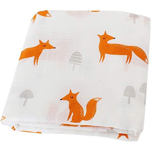 LifeTree Musselin Swaddle Baby Decke Tücher, 120x120 cm Fox Design Bambus Baumwolle Pucktuch Swaddle Wrap, Aufstoßen Tuch, Babydecke Pucktücher für Junge und Mädchen