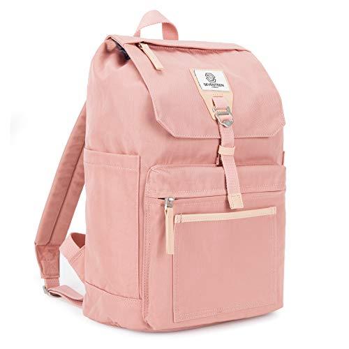 SEVENTEEN LONDON – Moderner & stilvoller 'Fulham' Rucksack in rosa mit einem klassischen gefalteten Design – ideal für 13-Zoll-Laptops