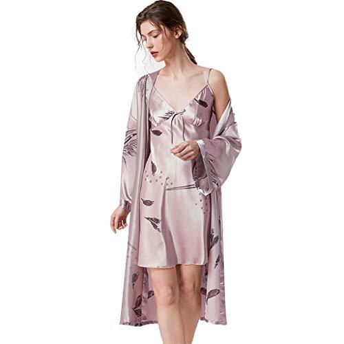 Robes Vrouwen Kimono Robe Long Dressing Kimono Toga, Womens Zijde Satijn Robe Nightgown Badjas Bruidsmeisje Nachtmode Pyjama Nachthemd Lange Style (Color : Camel-c, Size : M)