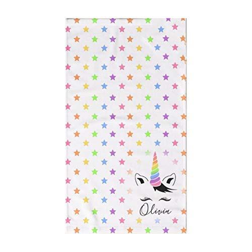 Gbcyp Trendy Floral Peronalized Gifts Keuken Badkamer Handdoek voor Bad Unicorn Face Wimper Zwembadhanddoek, B Let op de naam, 70x140cm