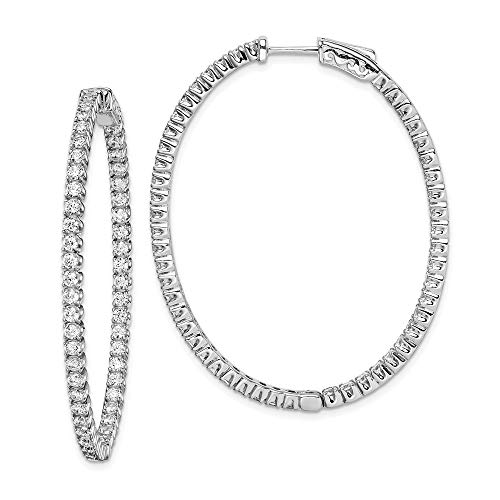 925 Sterling Silver Cubic Zirconia Cz Hinged Oval Hoop Earrings Ear Hoops Set Fine Jewelry For Women Gifts For Her