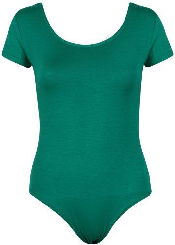 Purple Hanger Body de mujer con mangas de gorra, maillot de manga corta, color verde jade 8-10