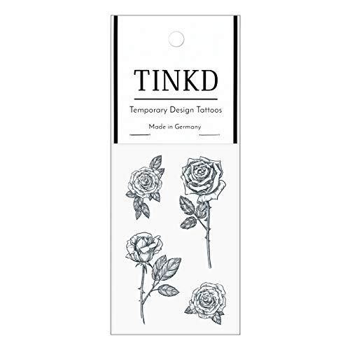 TINKD Tattoo Rose | Rosen-Tattoos schwarz -Temporäre Tattoos | Made in Germany