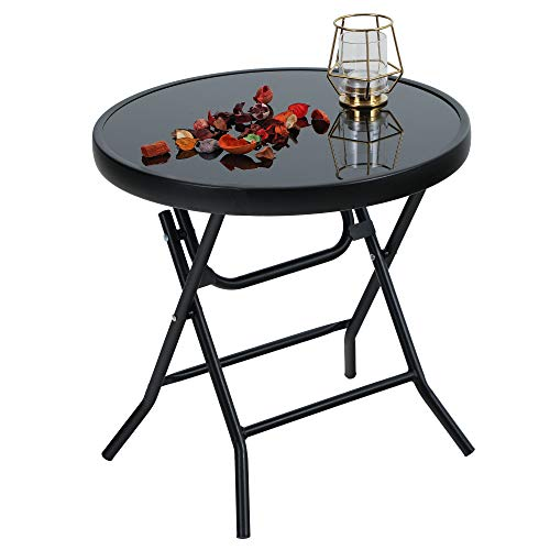 PHI VILLA Folding Side Table, Foldable Coffee Table, Outdoor Garden Table, Small Round Patio Table - Black