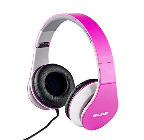 Elbe AU-545-PK - Auriculares de diadema con cable, plegables, color rosa