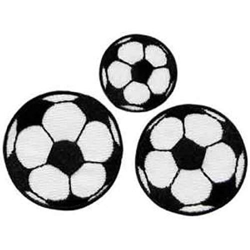 Fussball Fußball - 3er Set - Aufnäher Patch Aufbügler Bügelbild