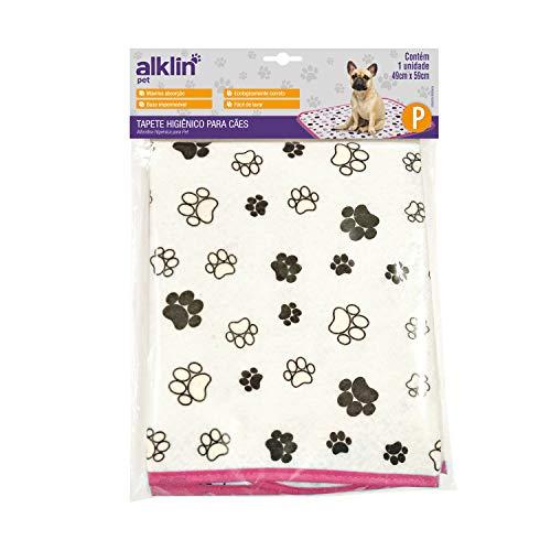 Tapete Higiênico PET P para Cães, Alklin Pet, Branco com borda Rosa, AFP, Rosa, P