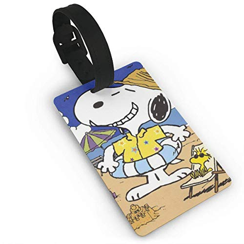 Snoopy Played with Woodstock On The Beach Luggage Tag Adjustable Strap Bag Baggage Name,Accessories Tags for Tourists