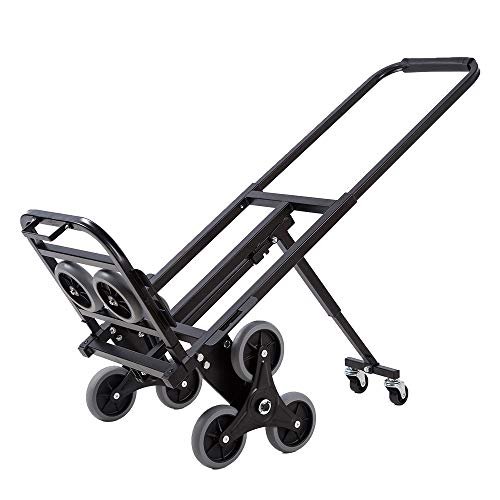 Goujxcy Stair Climbing Folding Hand Truck,Portable Foldable Stroller 330 LBS Largest Capacity Heavy Duty Stair Climber Hand Truck with 6 Wheels