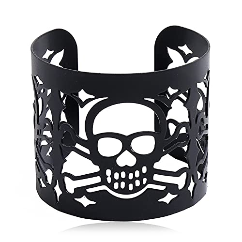 BestSiller Pulsera de cabeza de diablo, pulsera de calavera hueca de metal, con superficie ancha, para mujer