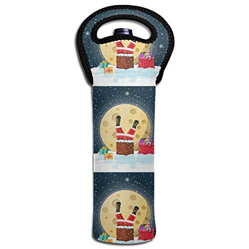 Weihnachtsmann mit Tasche Geschenke im Haus Schornstein Wein Wärmedämmung Taschen Flaschenabdeckung Kühltasche Tote Dekoration