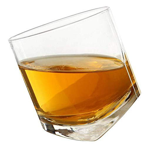 Cgration Crystal Rocking Whiskey Glass - Premium Lead Free Crystal Glasses Scotland Drinking Glasses Wine Glass Cup Glasses Party Drinking