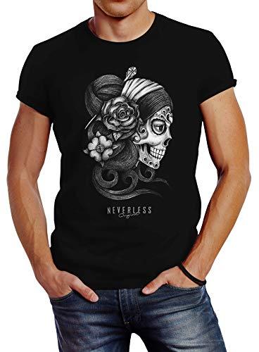 Neverless® Herren T-Shirt Santa Muerte La Catrina Mexican Skull Dia de los Muertos Tattoo Design Slim Fitt schwarz 3XL