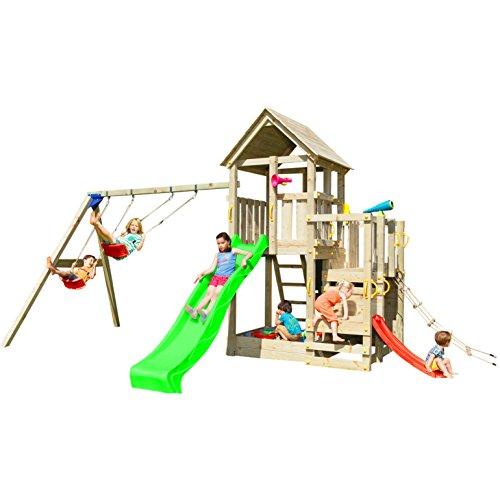 Blue Rabbit 2.0 Spielturm PENTHOUSE mit Rutsche und Doppelschaukel Babyrutsche Kletternetz Fernglas Kletterwand Kletterturm mit Holzdach (Rutsche GRÜN)