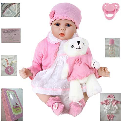 ZIYIUI Realista 22 Inch 55 cm Muñeca Reborn Baby Dolls Hecho a Mano Realista Niño Vinilo de Silicona Suave Realidad Bebé Recién Nacido Chica Juguete Niño