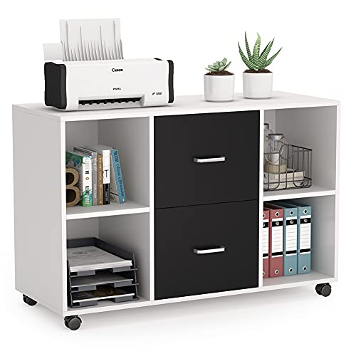 Tribesigns 2 Drawer Wood File Cabinet Letter Size, Large Mobile Lateral Filing Cabinet Printer Stand with Storage Shelves and Wheels for Home Office (White)