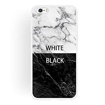 Yoodi iPhone 6 Case iPhone 6s 4.7  Case Ultra Slim Silicone Gel Cover [Marble Design] Matte Edge Shock Absorption Bumper Soft TPU Protection Cover - Black White
