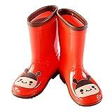 Hugmii Waterproof Anti-Slippery Rubber Animal Rain Boots for Toddler, Little Kids, Big Kids (12 T US Toddler, Red)