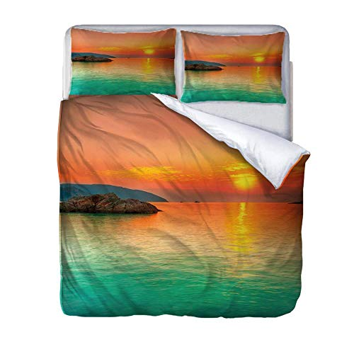 SUZIHUA Single Duvet Cover With 1 Pillowcases,Sunset By The Sea,With Zipper Closure In Polyester Printed Quilt Cover Bedding Set 3Pcs,Quilt Cover Bedding Set 3Pcs