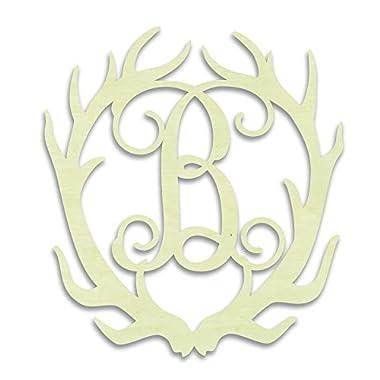 UNFINISHEDWOODCO Antler Monogram  B  Decorative Piece