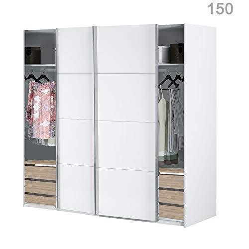 HABITMOBEL Armario Dormitorio Blanco 204 Puertas correderas, Fondo Especial DE 65cm (Cajoneras Incluidas)