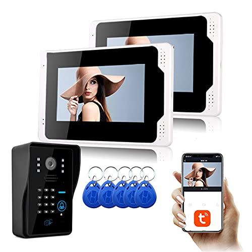 Tuya WiFi Timbre con video de 7 pulgadas, intercomunicador, tarjeta RFID, contraseña, videoportero de seguridad para el hogar, teléfono con 2 monitores + cámara de visión nocturna 1080P