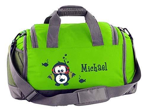 Mein Zwergenland Sporttasche Kinder mit Schuhfach und Nassfach Kindersporttasche 41L mit Namen personalisiert, Motiv Eule, in Lime Grün