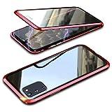 Topmore Hülle Kompatibel mit Samsung Galaxy S10 Lite 5G Magnetische Handyhülle,Metallrahmen 360 Grad Schutzhülle Vorne & Hinten Gehärtetes Glas Magnet Hülle Panzerglas Doppelseitige hülle,Rot