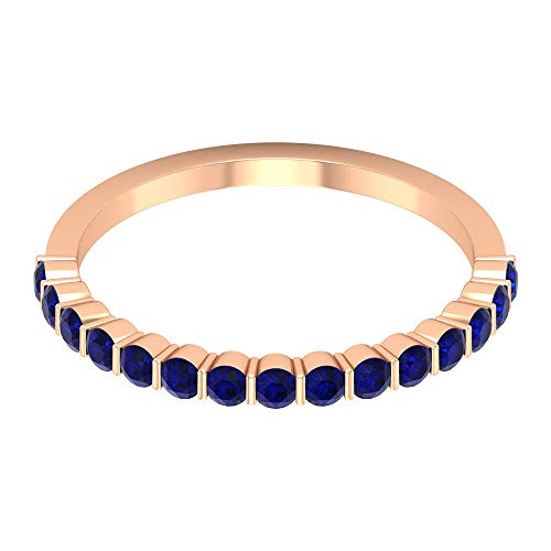 3/4 Ct Certified Blue Sapphire Lab Created Wedding Band Ring, Unique Bridal Promise Ring, Statement Gemstone Half Eternity Ring, Classic Women Partywear Ring, 18K Rose Gold, Size:UK I