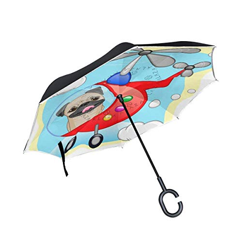Blue Cartoon Shark Print Windproof Double Layer C-Shaped Handle Car Reverse Umbrella UV Protection /& Rain Unique Umbrella