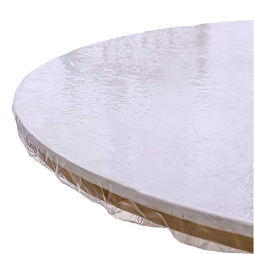 Clear Round Vinyl Fitted Tablecloth Waterproof Oilcloth Heavy Duty Elasticized Table Cover Elastic Edge Design Plastic Tablecloth Protector For Round...