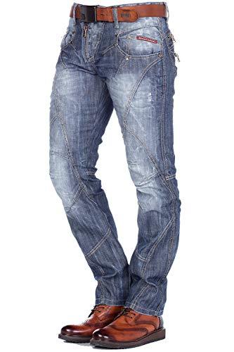 Cipo & Baxx Herren Straight Leg Jeans C-0751, Blue/Blau, 33W / 36L