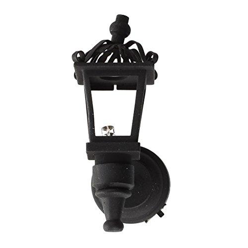 SODIAL(R) Schwarz Metall 1/12 Puppenhaus Miniatur LED Wandleuchte Modell