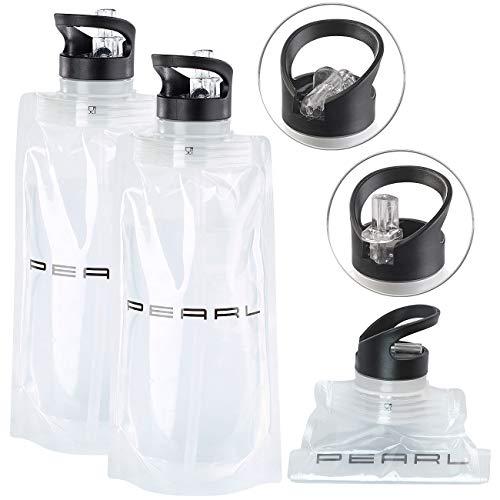 PEARL Flasche faltbar: 2er-Set Faltbare Trinkflaschen, Trinkhalm, für Sport & Freizeit, 800ml (Trinkflaschen Fitness)