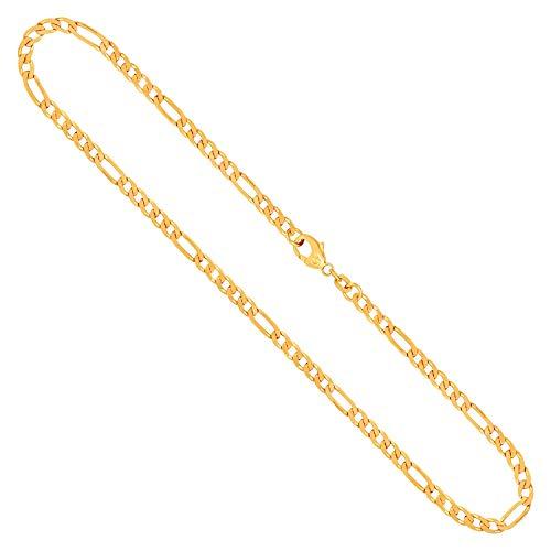 Goldkette Herren Echtgold 3.4 mm, Figarokette diamantiert 333 aus Gelbgold, Kette Gold mit Stempel, Halskette mit Karabinerverschluss, Länge 55 cm, Gewicht ca. 11.7 g, Made in Germany