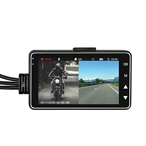 Ramingt Grabador De Conducción Grabador De Conducción De Doble Lente DVR para Motocicleta Cámara De Tablero con Pantalla Táctil para Grabación En Bucle