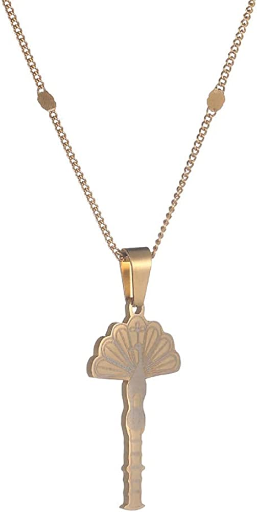 Stainless Steel Pendant Necklaces Temple of the peacock animal jewelry for women