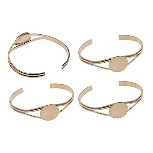 4Pcs 20 mm Adjustable Round Cabochon Bezel Tray Blank Bangle for Crafting DIY Bracelets Making - Rose Gold
