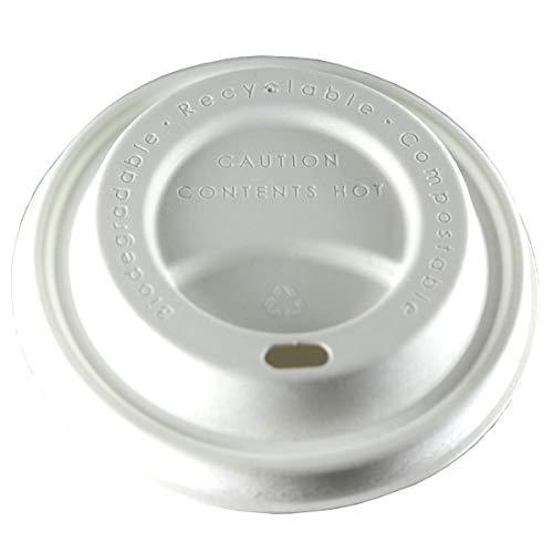 zi pac Earth Lid (R) Faserformdeckel für Heißgetränkebecher, Deckel für Kaffeebecher, Einweg, biologisch abbaubar, öko, umweltfreundlich, 80mm, weiß, 50 Stück, nachhaltig, kompostierbar