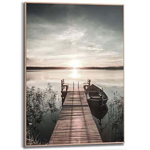 Schilderij Slim Frame Steiger Meer - Houten steiger - Natuur - Zon - 50 x 70 cm Woonkamer
