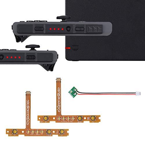 eXtremeRate Firefly LED Tasten Ersatzteile für Nintendo Switch Joycons Dock NS Joycon SL SR Tasten Ribbon Flex Kable Anzeige Leuchte Power-LED(Rot)-Joycons Dock Nicht enthalten